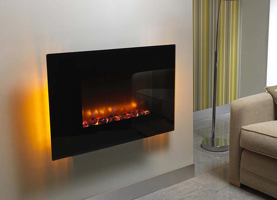 Foyer Electrique Design W Effet Flammes : Cheminée arizona orange électrique murale